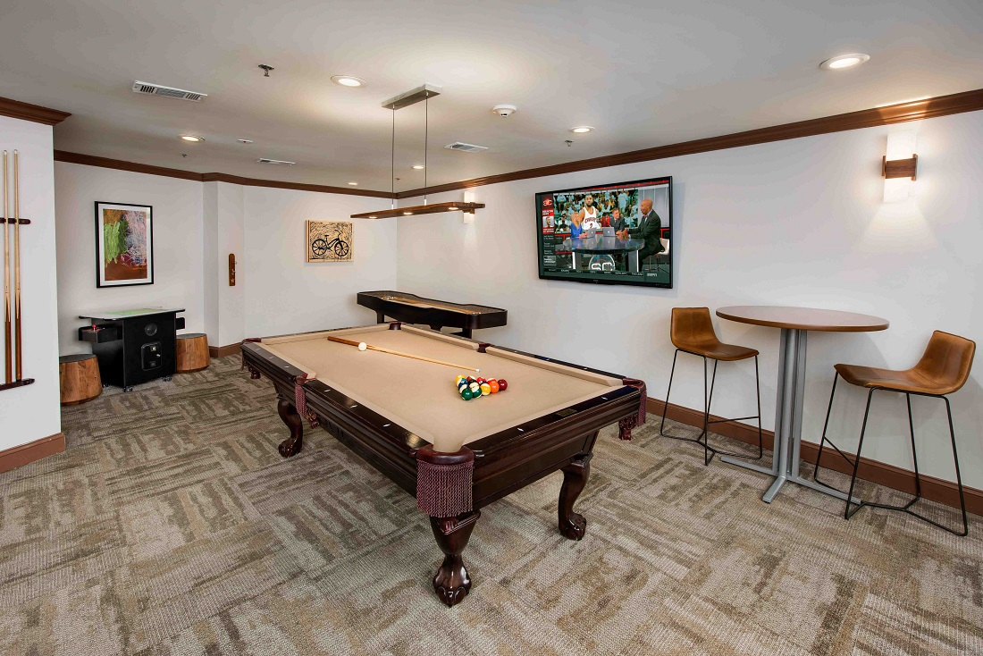 Game Room at The Sidney at Morningside Apartments in Atlanta, Georgia