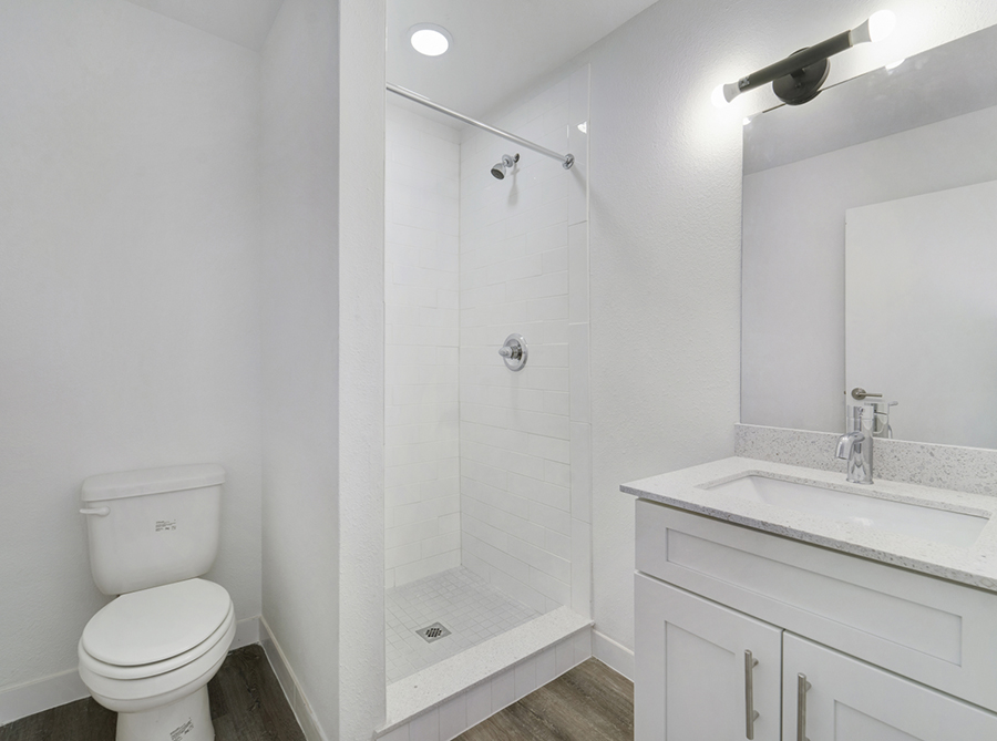 Bathroom with Shower at Sohana Apartments in Nashville, TN