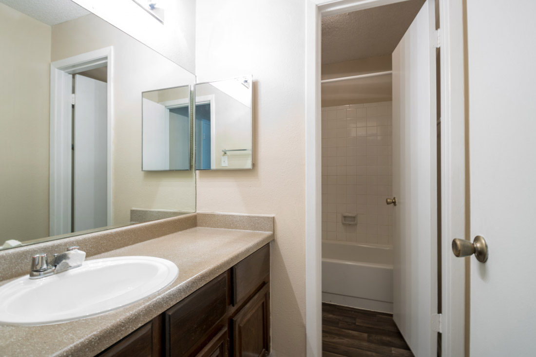 Bathroom at Songbird Apartments in San Antonio, Texas