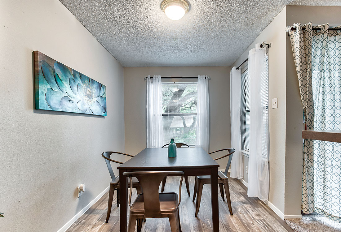 Apartments for Rent with Wood-Look Flooring at Songbird Apartments in North Central San Antonio, TX.