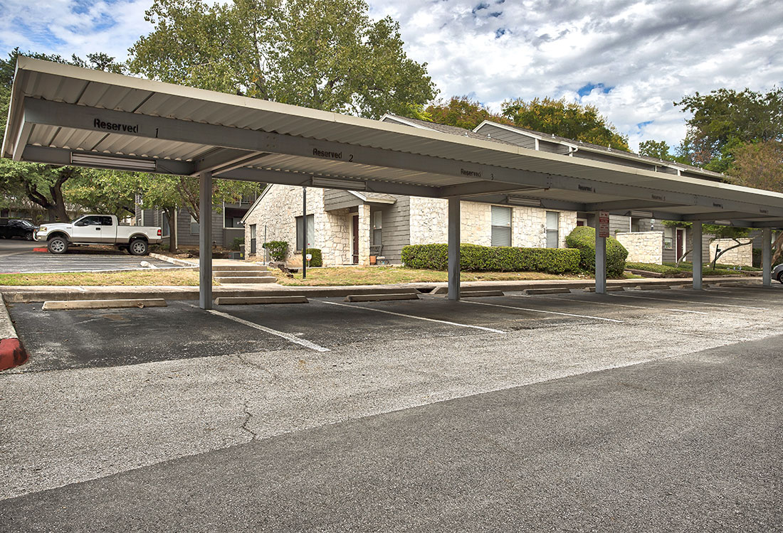 Apartments for Rent with Carports at Songbird Apartments in North Central San Antonio, TX.