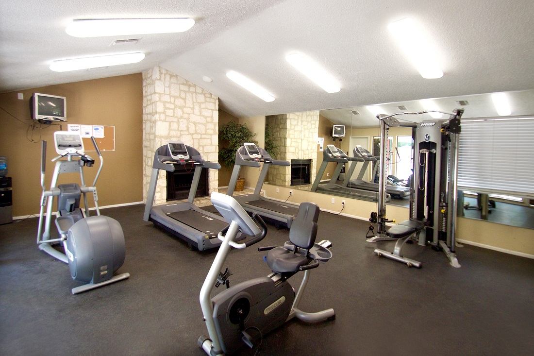 Modern Fitness Center at Songbird Apartments in San Antonio, Texas