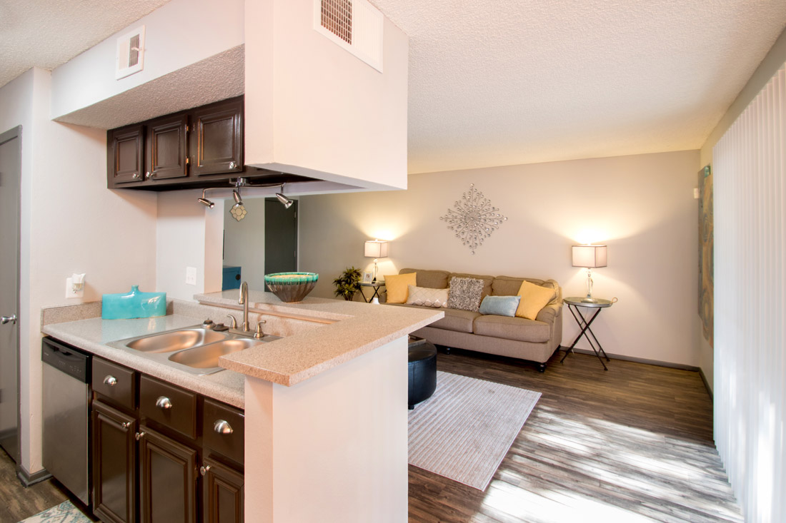 Spacious Living Room & Kitchen at Songbird Apartments in San Antonio, Texas