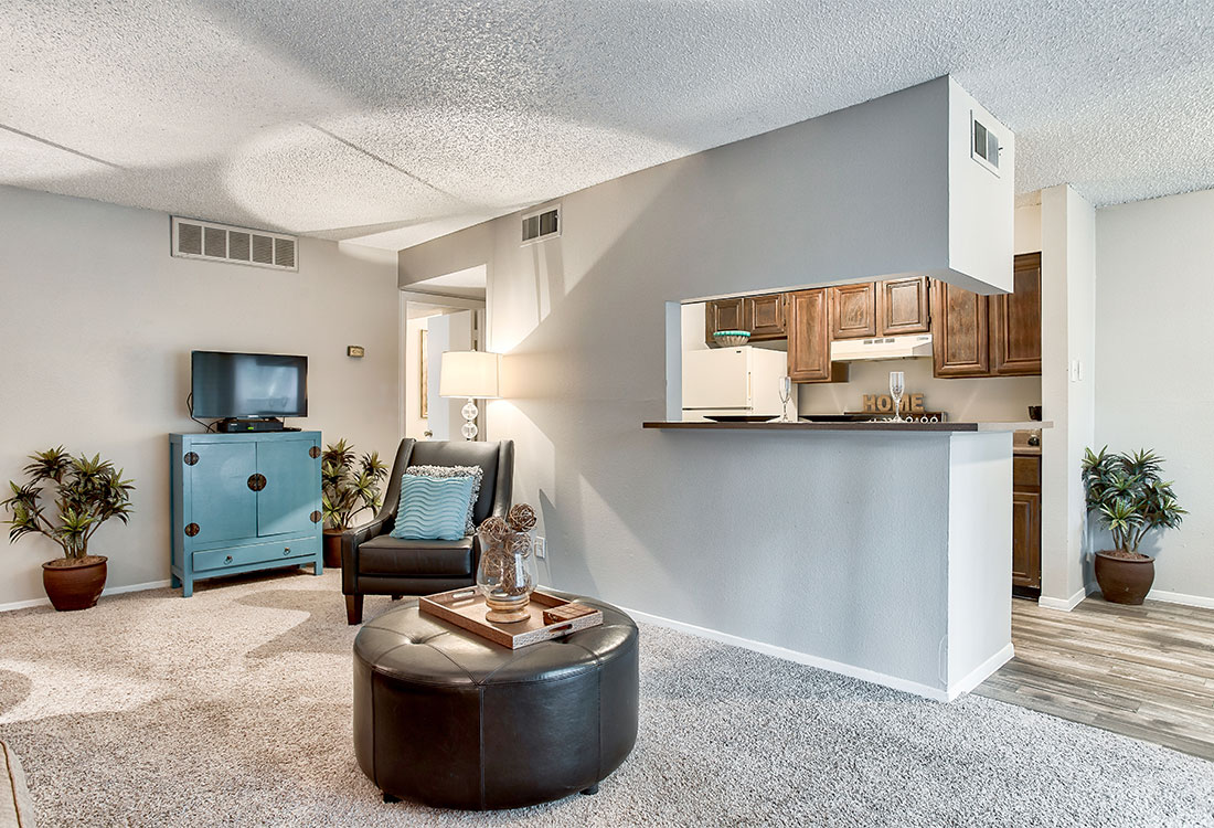 Spacious Living Rooms at Songbird Apartments in North Central San Antonio, TX.