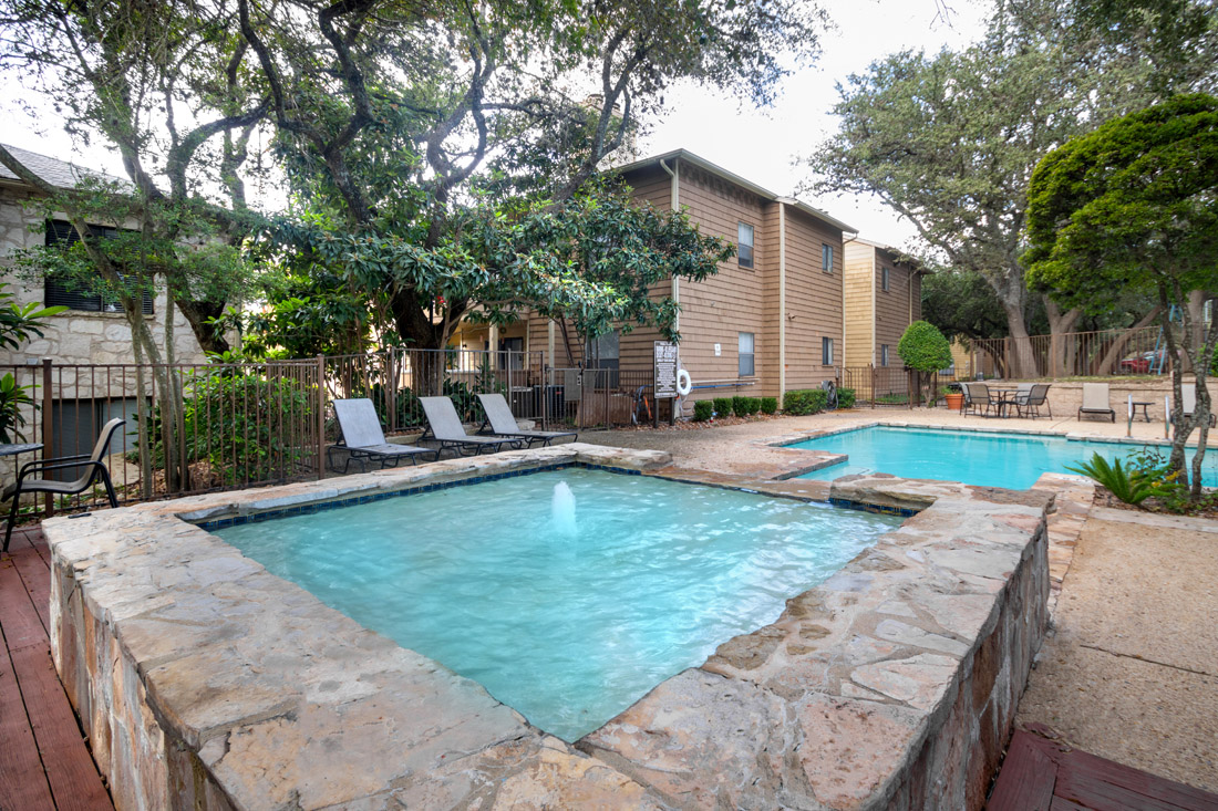 Sparkling Swimming Pool at Songbird Apartments in San Antonio, Texas