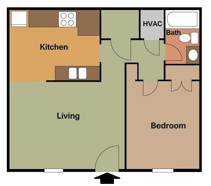South Creekside Apartments - Floorplan - 1BR