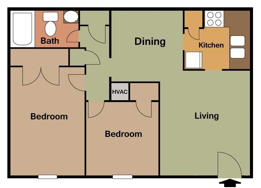 South Creekside Apartments - Floorplan - 2BR