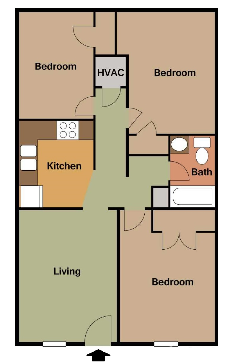 South Creekside Apartments - Floorplan - 3BR