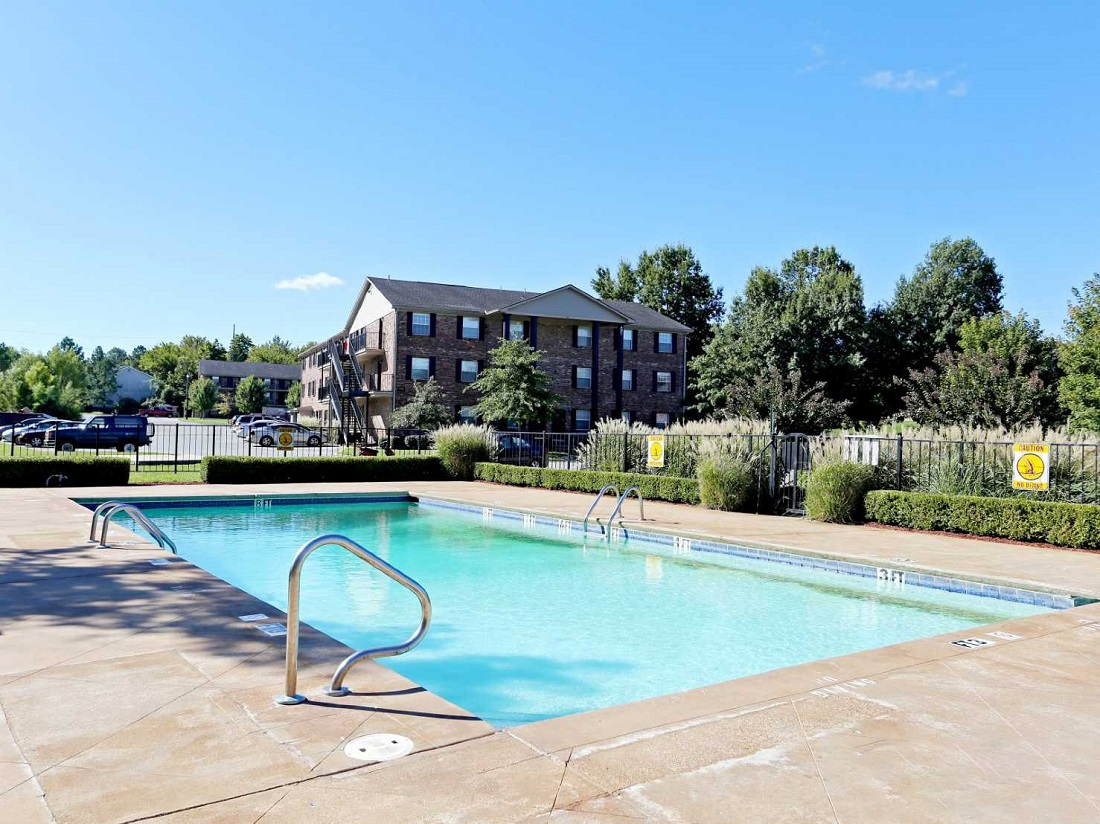 Sparkling Swimming Pool at South Creekside Apartments in Fayetteville, AR