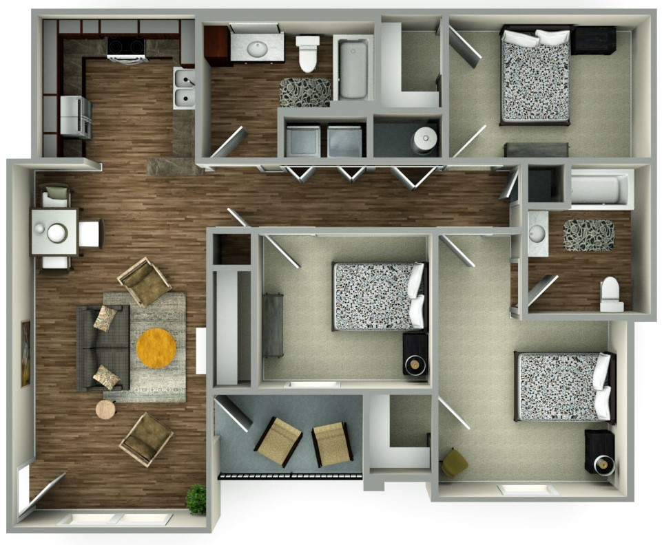 Floorplan - 3bed image