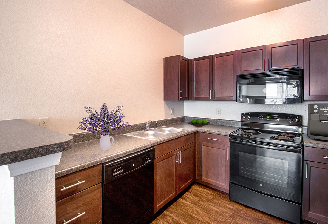 Black Appliances at The Reserves at South Plains Apartments in Lubbock, Texas