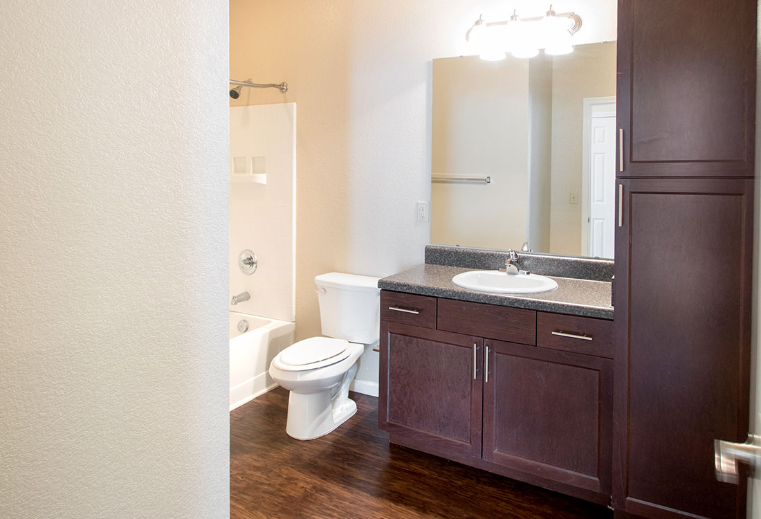 Bathroom Storage at The Reserves at South Plains Apartments in Lubbock, Texas