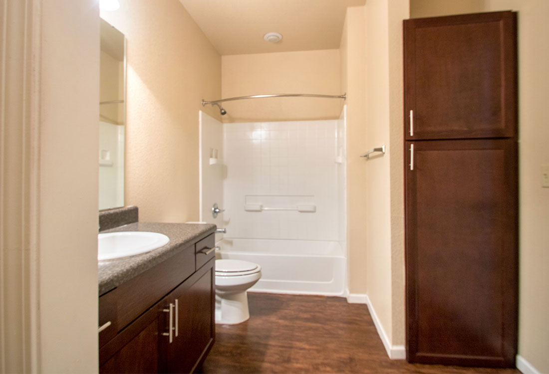Shower and Bathtub at The Reserves at South Plains Apartments in Lubbock, Texas