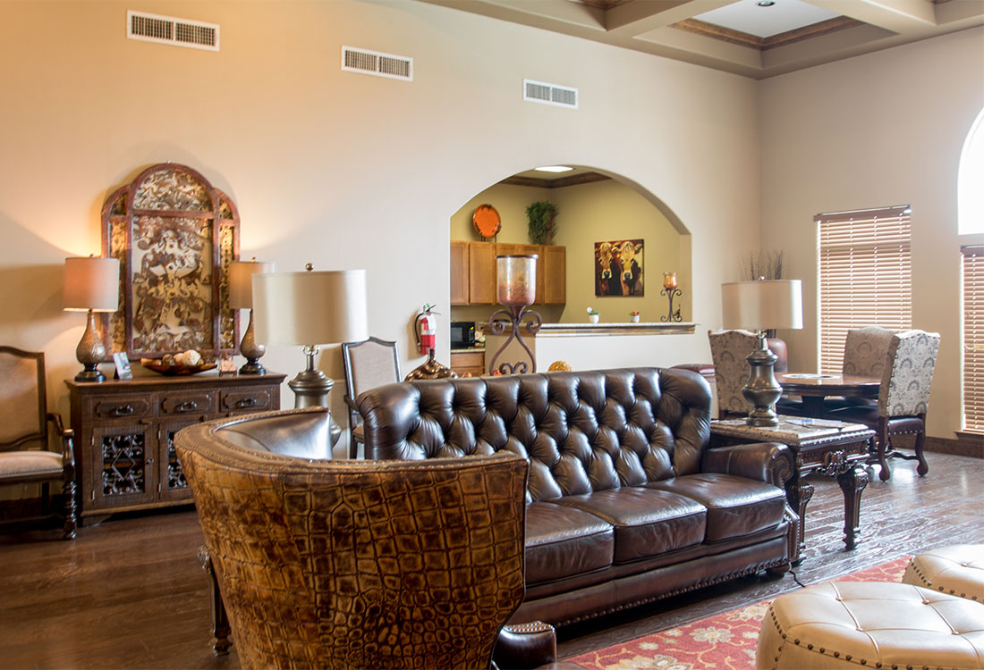 Community Clubhouse at The Reserves at South Plains Apartments in Lubbock, Texas