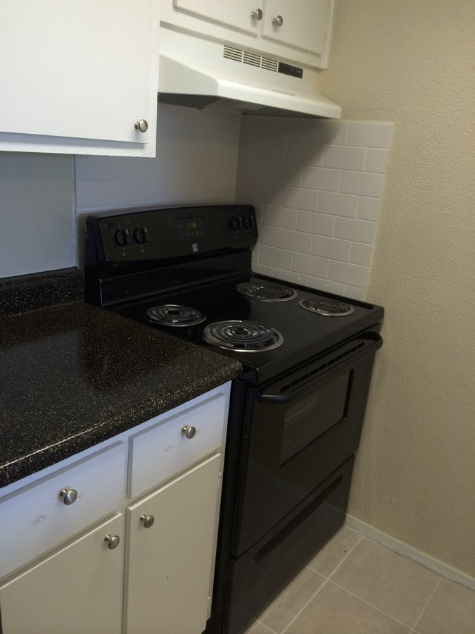 Black Appliances at Spring Brook Lofts Apartments in Houston, Texas