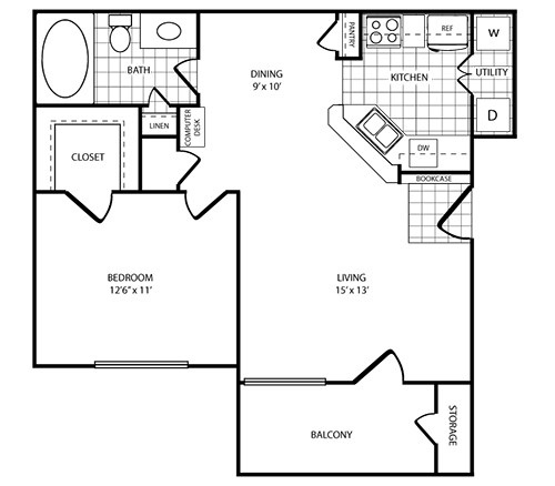 Floorplan - 1 Bed - 1 Bath  image