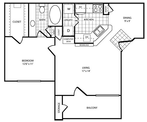 Station 3700 Apartment Homes - Floorplan - 1 Bed - 1 Bath