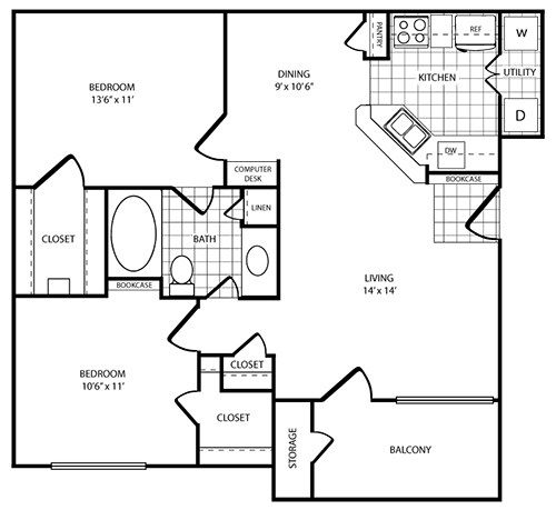 Floorplan - 2 Bed - 1 Bath  image