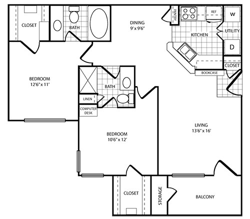 Floorplan - 2 Bed - 2 Bath  image
