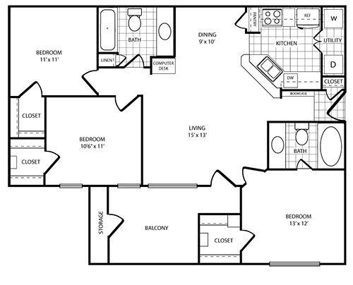 Floorplan - 3 Bed - 2 Bath  image