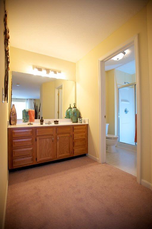 Expansive Bathroom Vanity at Stone Bridge Apartments in Mason, Ohio