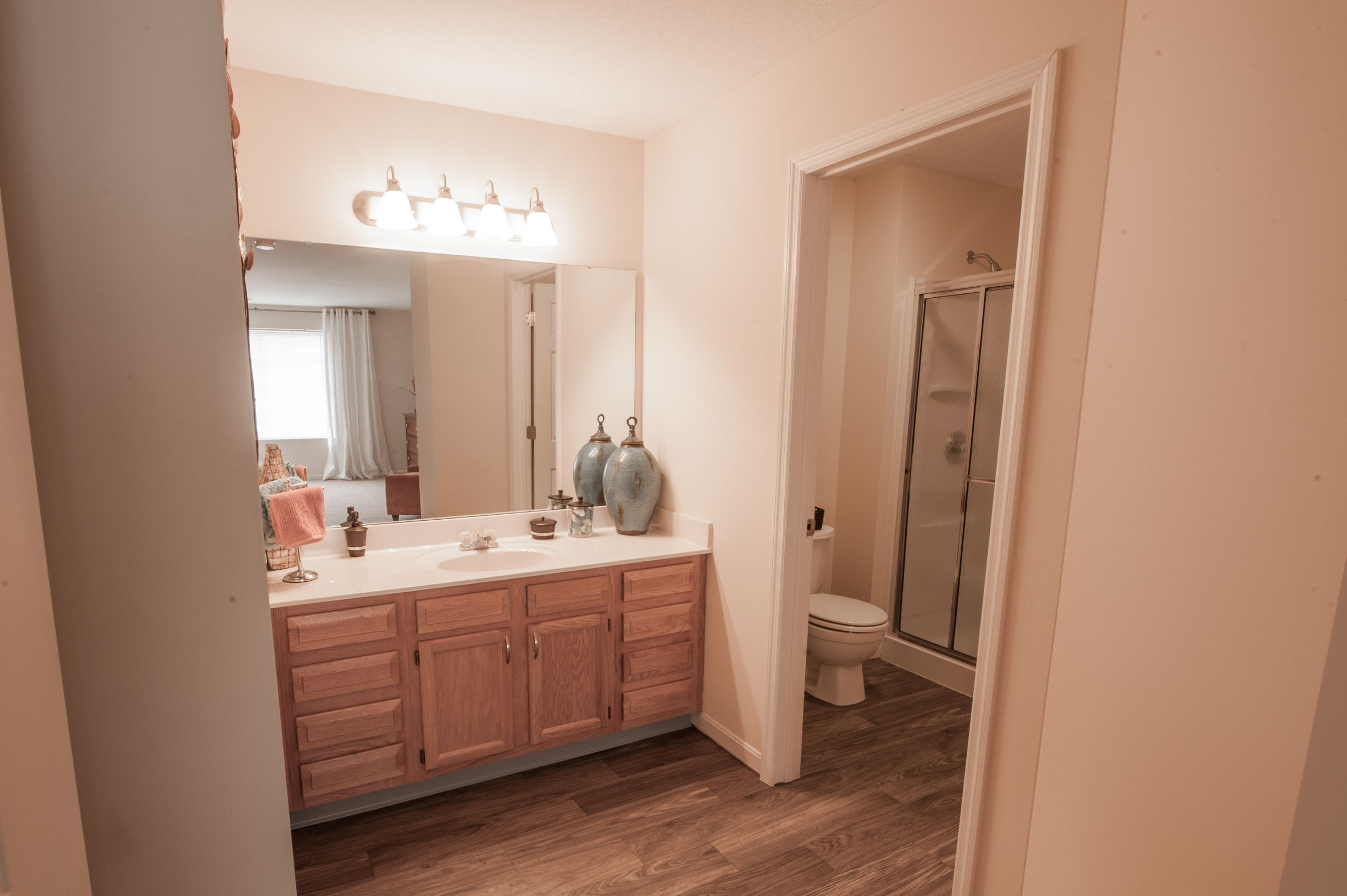Expansive Bathroom Vanity at Stone Bridge Apartments in Mason, Ohio
