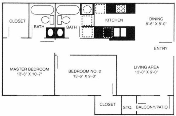 Stonebrook Village Apts. - Floorplan - 2A