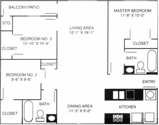 Stonebrook Village Apts. - Floorplan - 3A