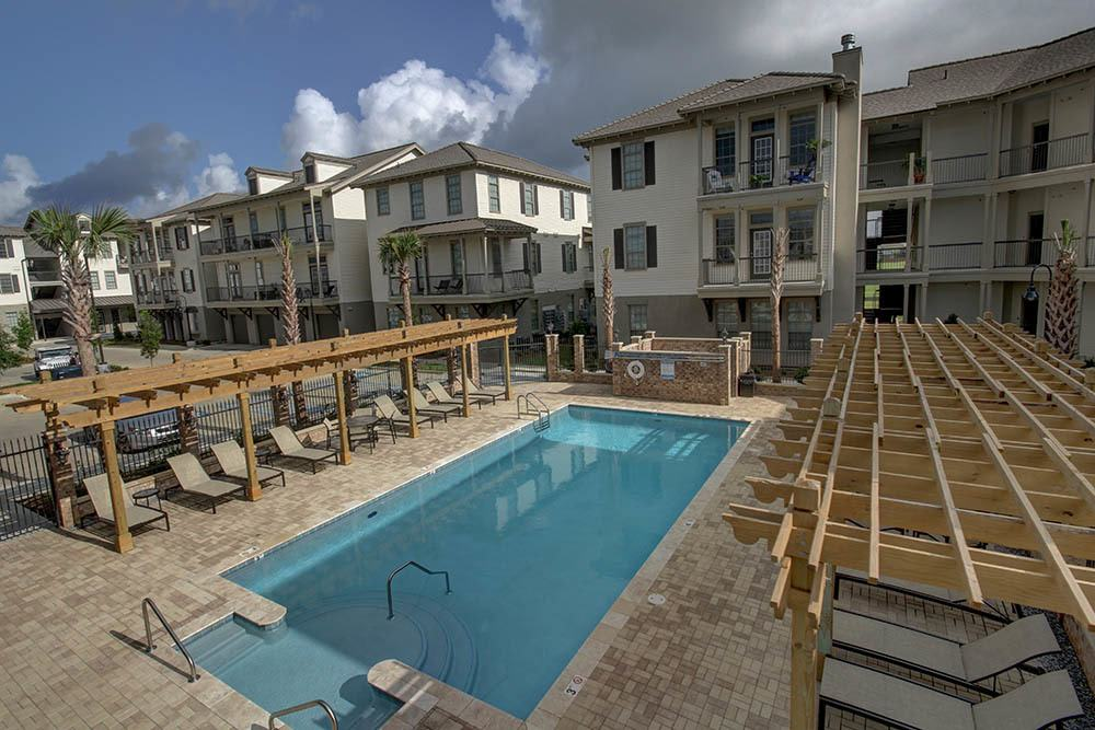 Pool and Gazebos at Waterview Apartments in Youngsville, Louisiana
