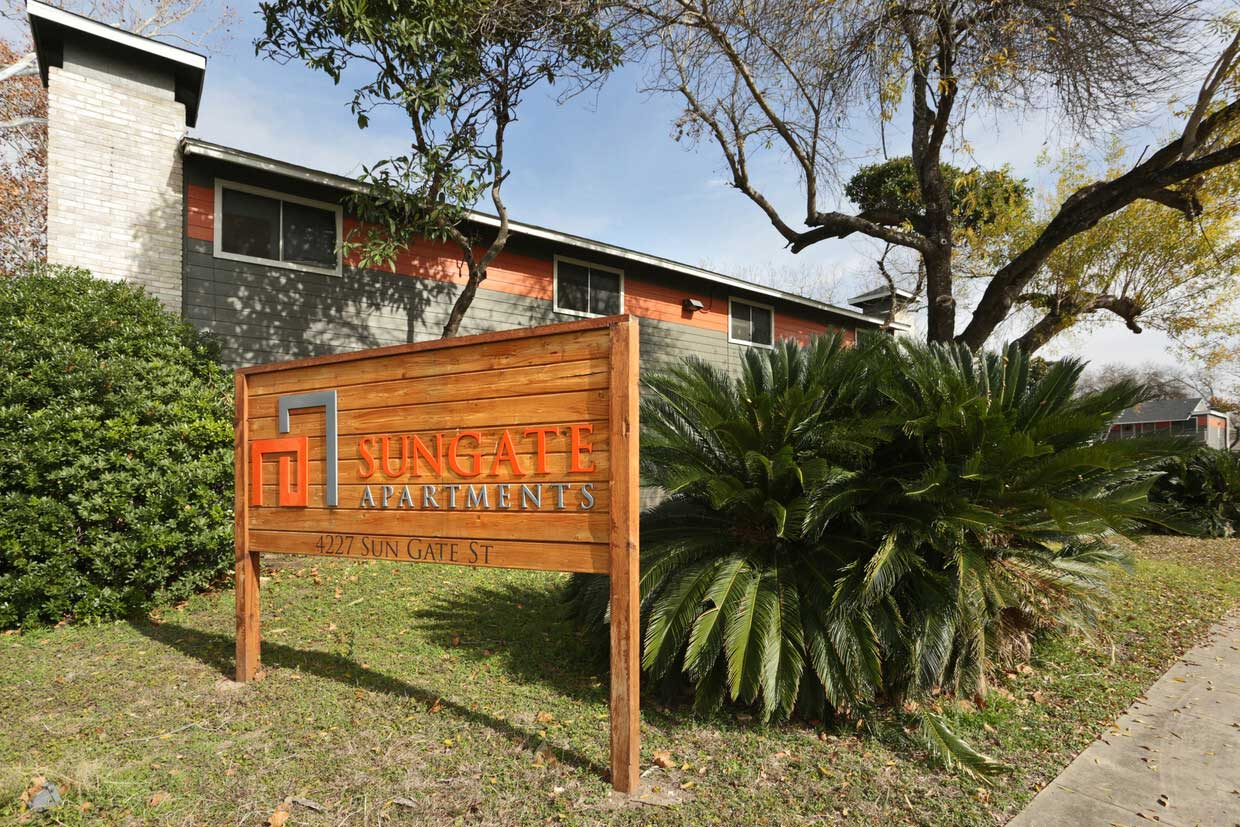 Welcome Signage at Sungate Apartments in San Antonio, Texas