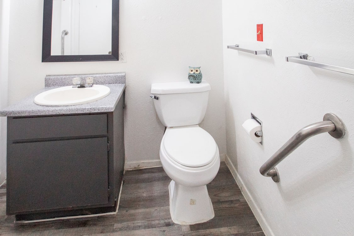 Full-Size Bathrooms Equipped with Hand Rails at Sunscape Apartments in Abilene, Texas