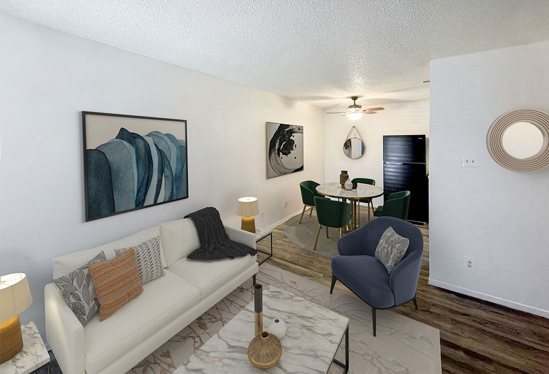 Spacious Living Rooms at Sunscape Apartments in Abilene, TX