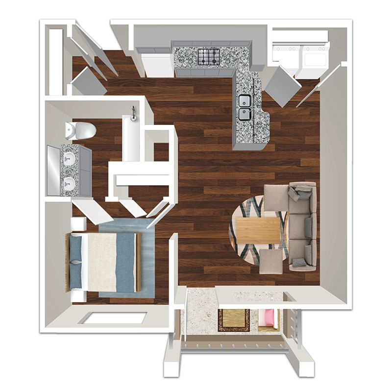 Sunset at Fash Place - Floorplan - 1 Bed