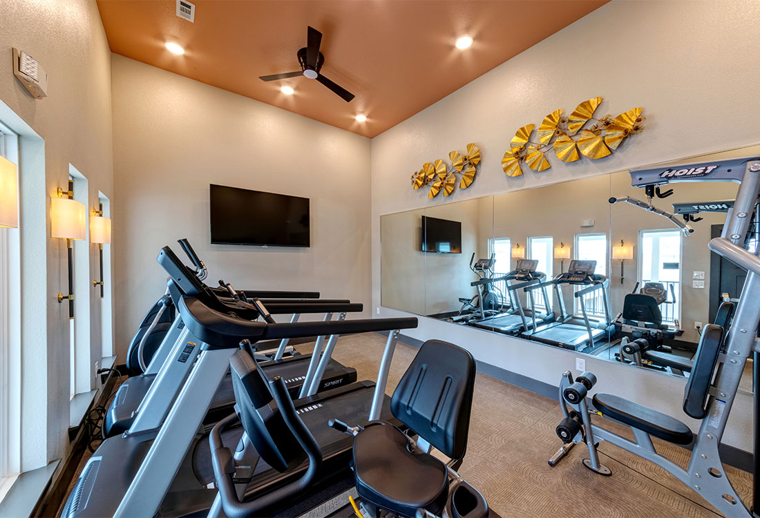 Fitness Center at Sunset at Fash Place Apartments in Fort Worth, TX