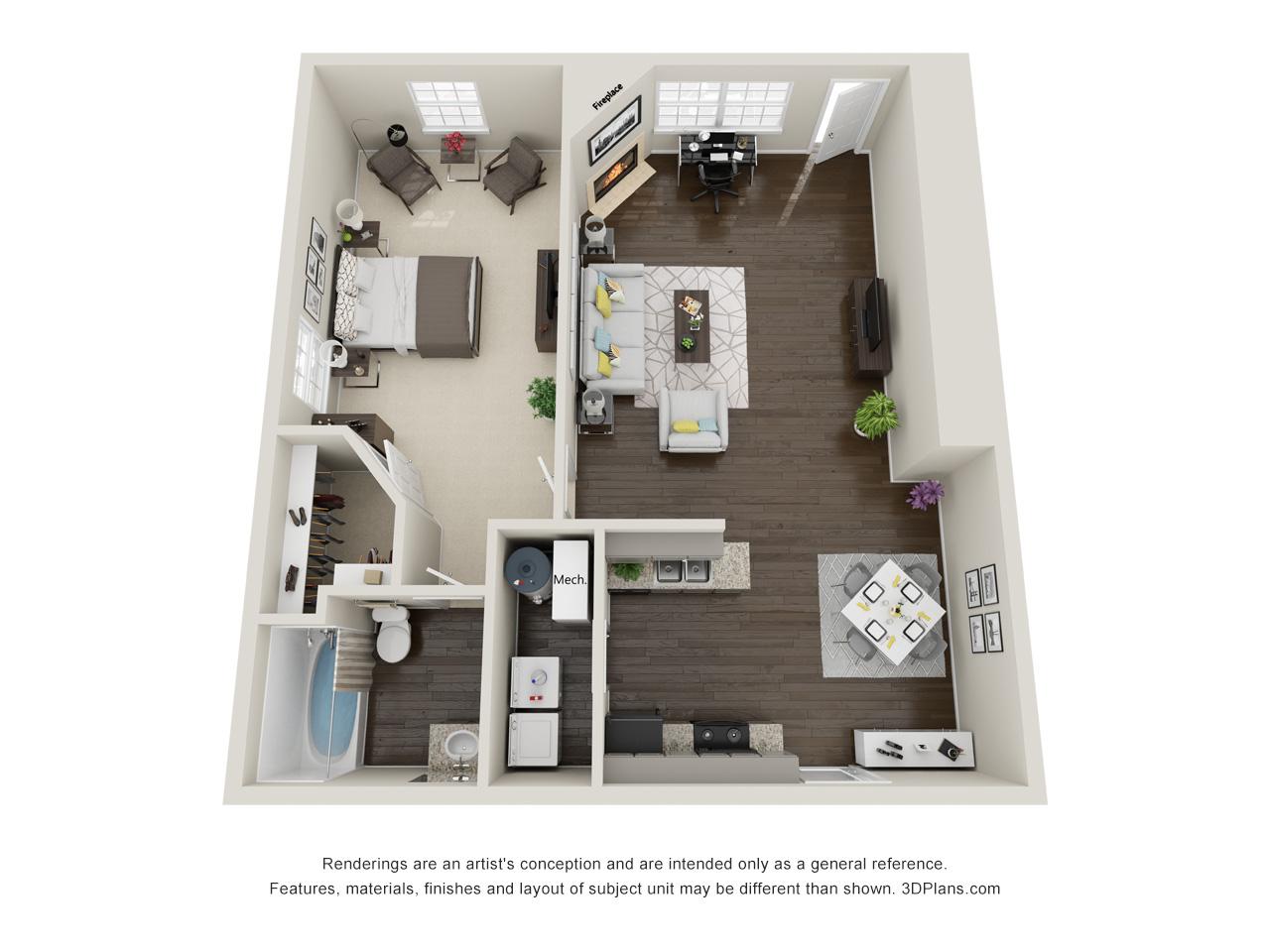 Tall Oaks Apartments and Villas - Floorplan - Post Oak Apartment
