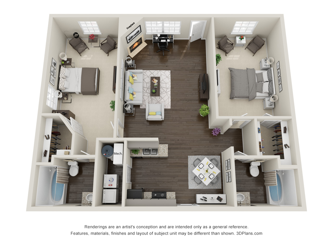 Tall Oaks Apartments and Villas - Floorplan - Chestnut Oak Apartment