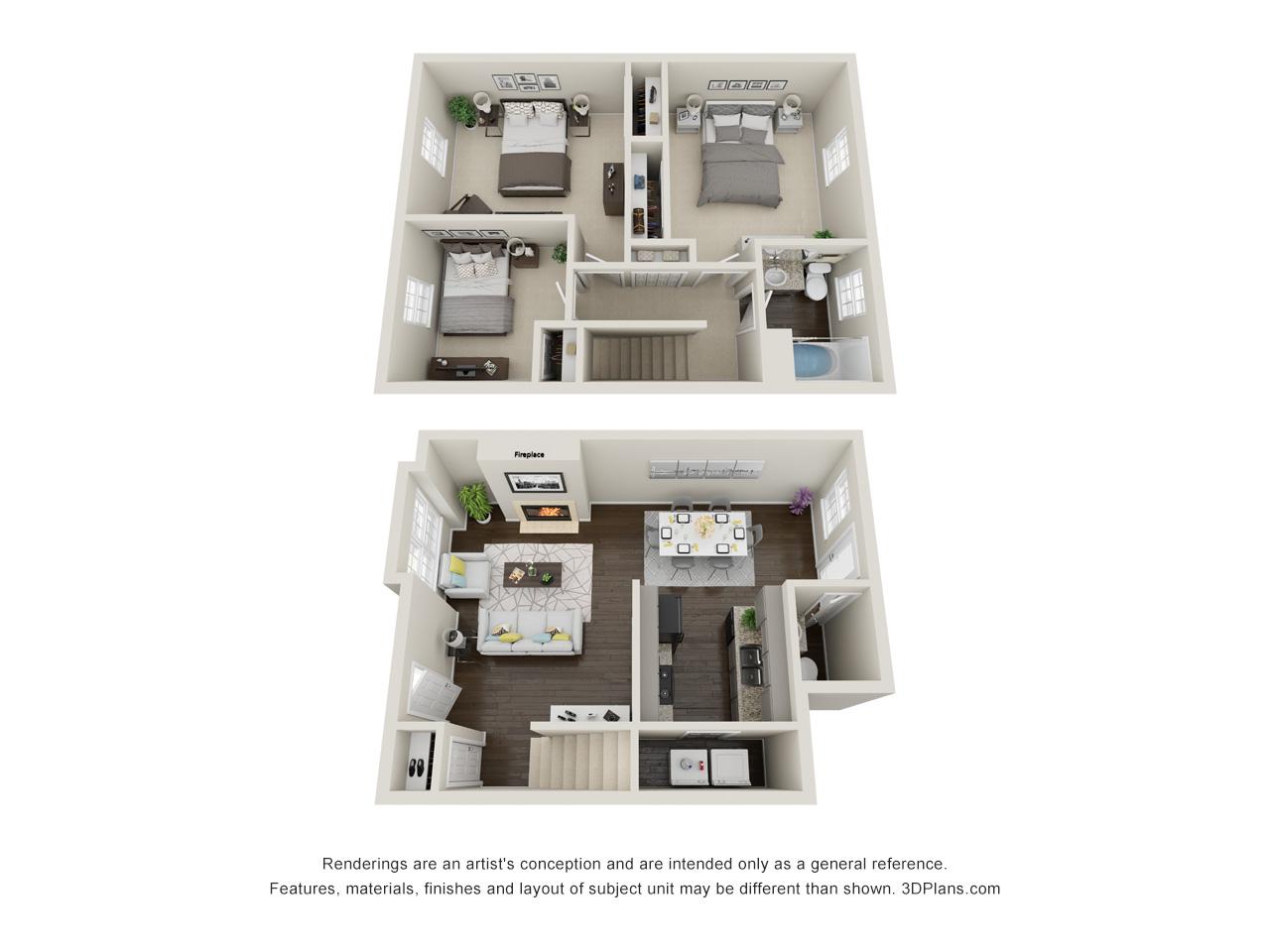 Tall Oaks Apartments and Villas - Floorplan - Red Oak Villa