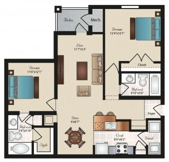 Oxford at Tech Ridge Apartments - Floorplan - Balcones
