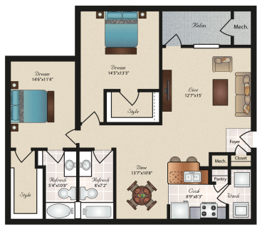 Oxford at Tech Ridge Apartments - Floorplan - Rosedale