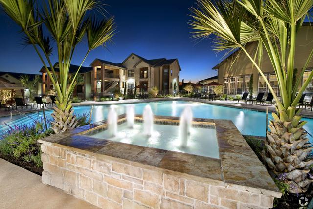 Pool with Fountains at The Oxford at Tech Ridge Apartments in Austin, TX