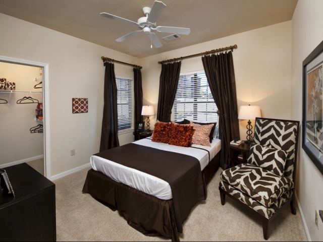 Sophisticated Bedroom at The Oxford at Tech Ridge Apartments in Austin, TX