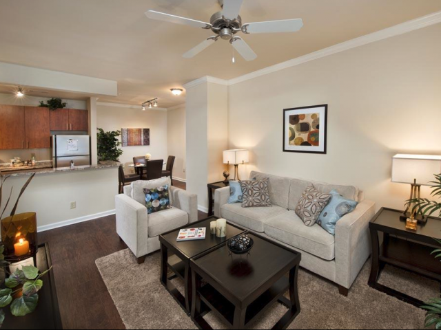 Modern Living Room at The Oxford at Tech Ridge Apartments in Austin, TX
