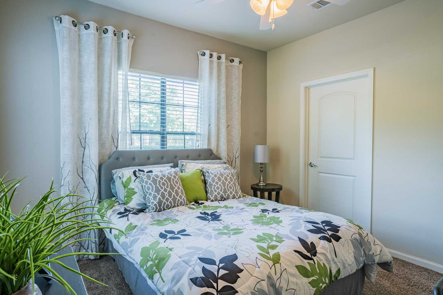 Bedroom with Carpeted Floors at Tech Ridge Apartments in Austin, TX