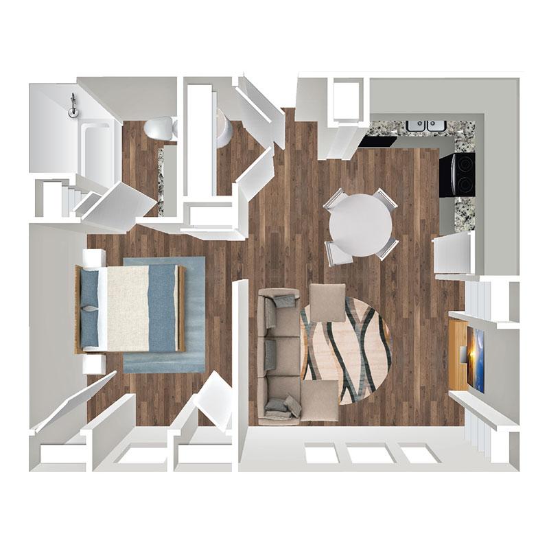 Floorplan - 1 Bedroom Market image