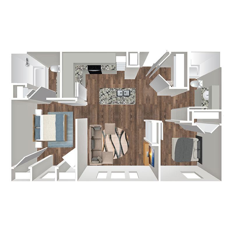 Floorplan - 2 Bedroom Market image