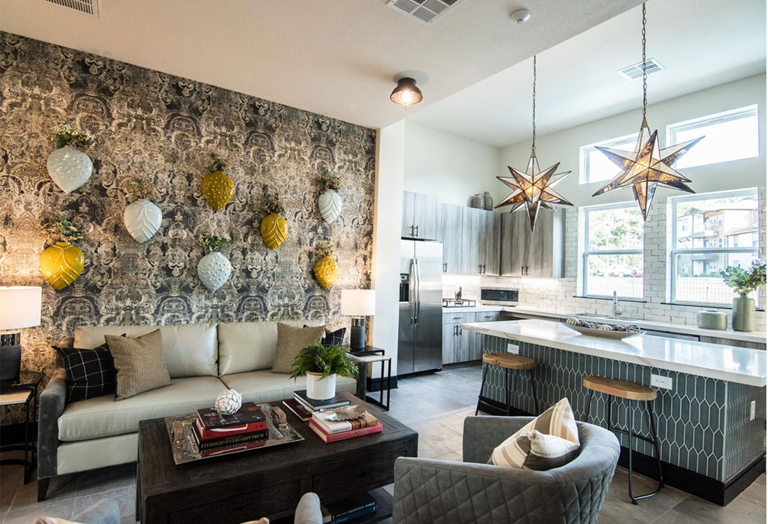 Community Kitchen with Sitting Area at The Abali Apartments in Austin, Texas
