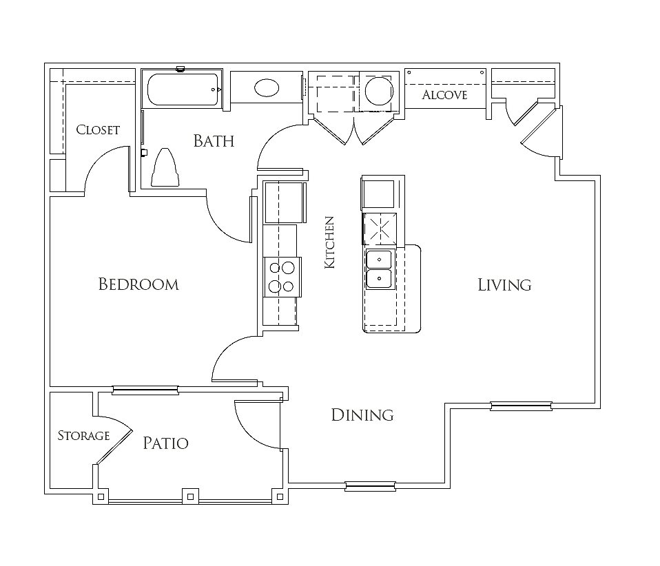 The Azure Apartment Homes - Floorplan - The Alamo