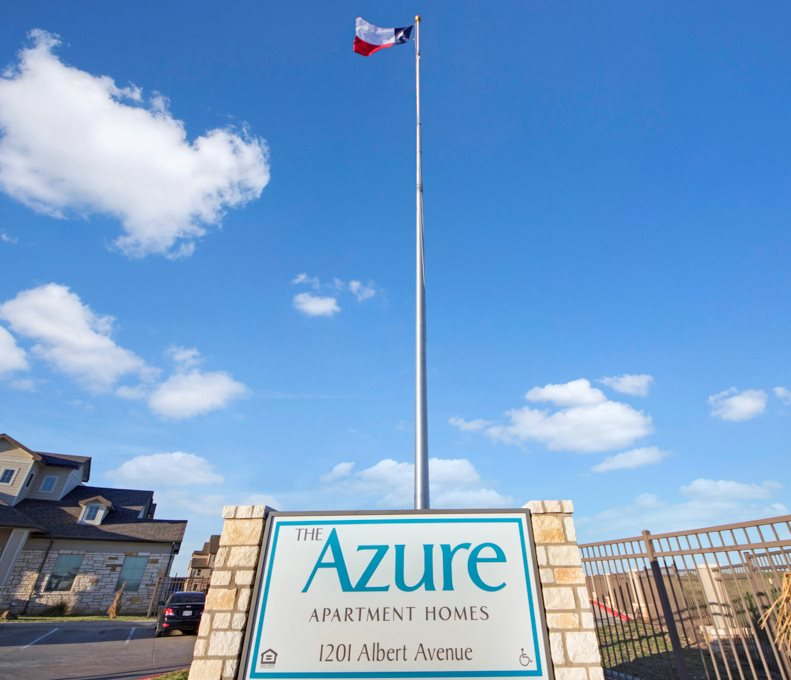 Welcome Signage at The Azure Apartment Homes in Midland, Texas