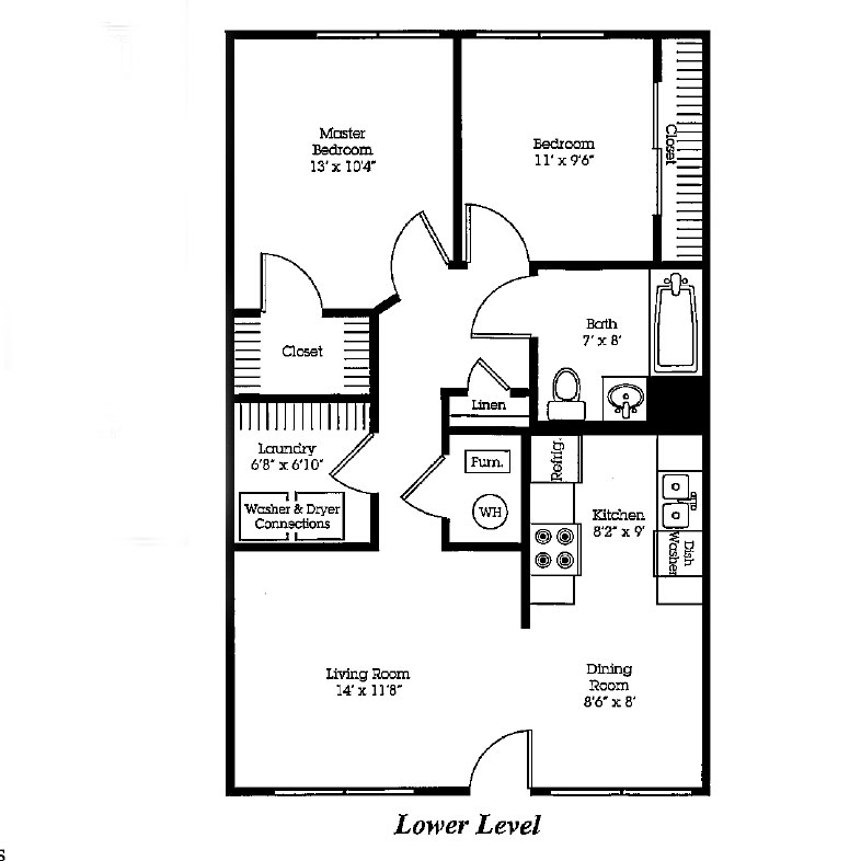 The Bluffs - Floorplan - Two Bedroom 2nd Floor