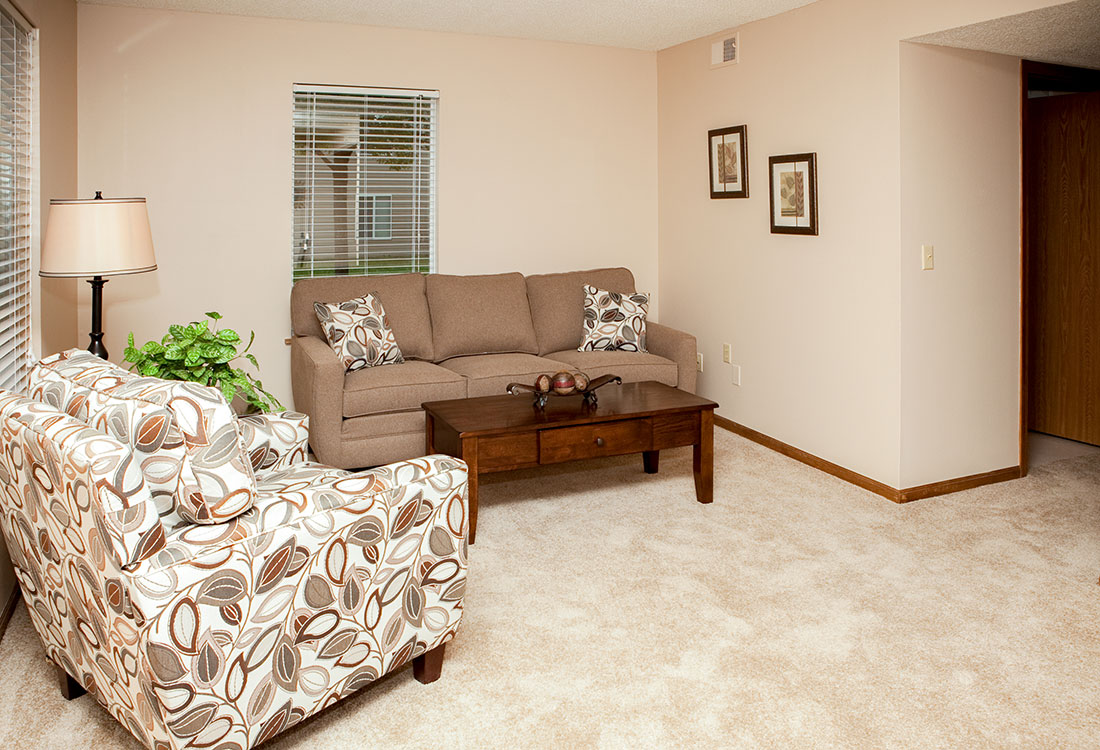 Spacious Living Area at The Bluffs Apartments in Council Bluffs, IA